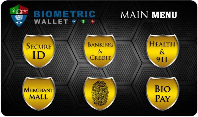 Biometric Wallet Touchscreen Menu